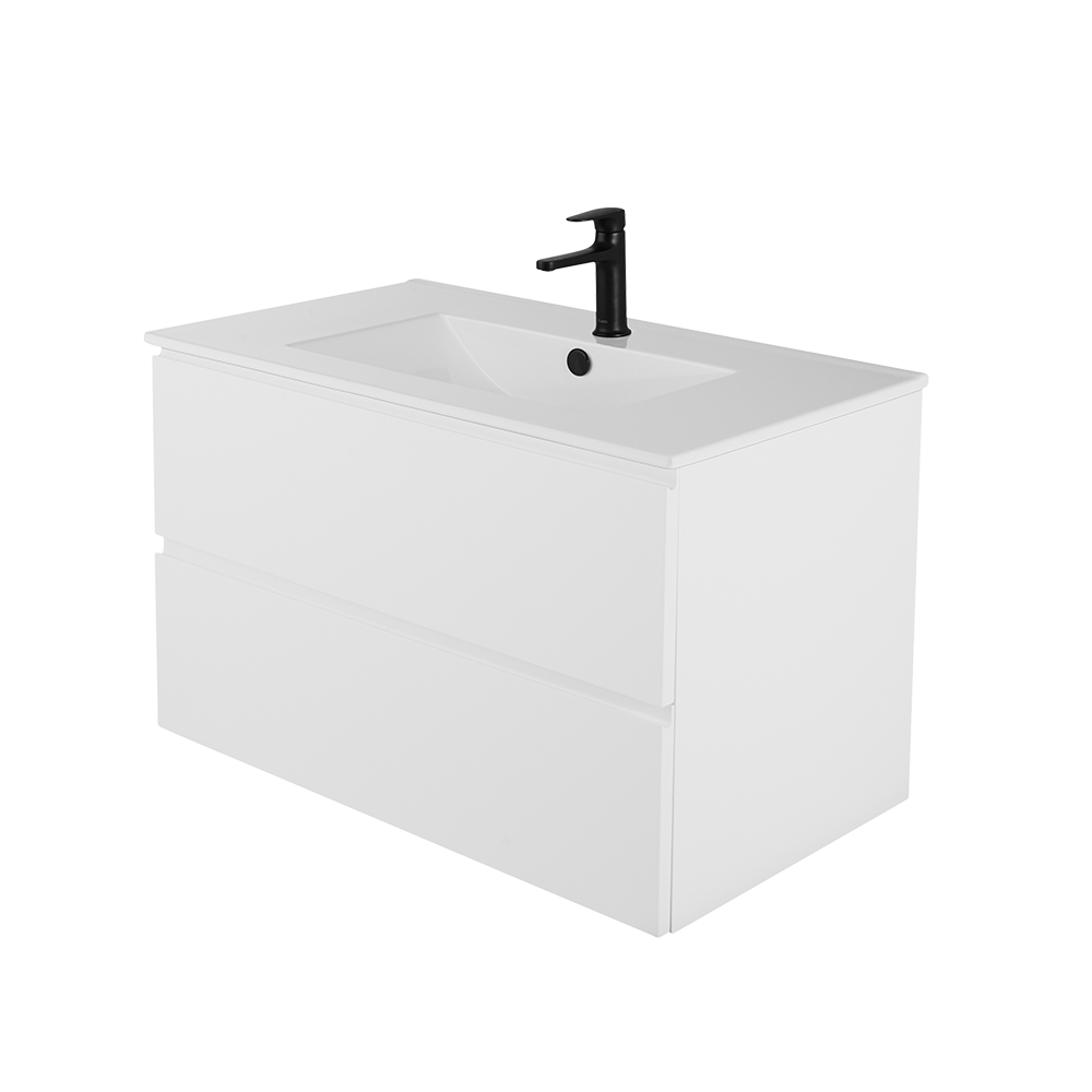 Sara 80 cm hvit baderomsmøbel med svart kran