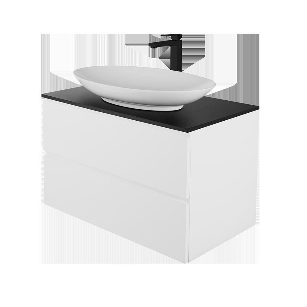 Sara 80 cm baderomsmøbel med vask og svart kran