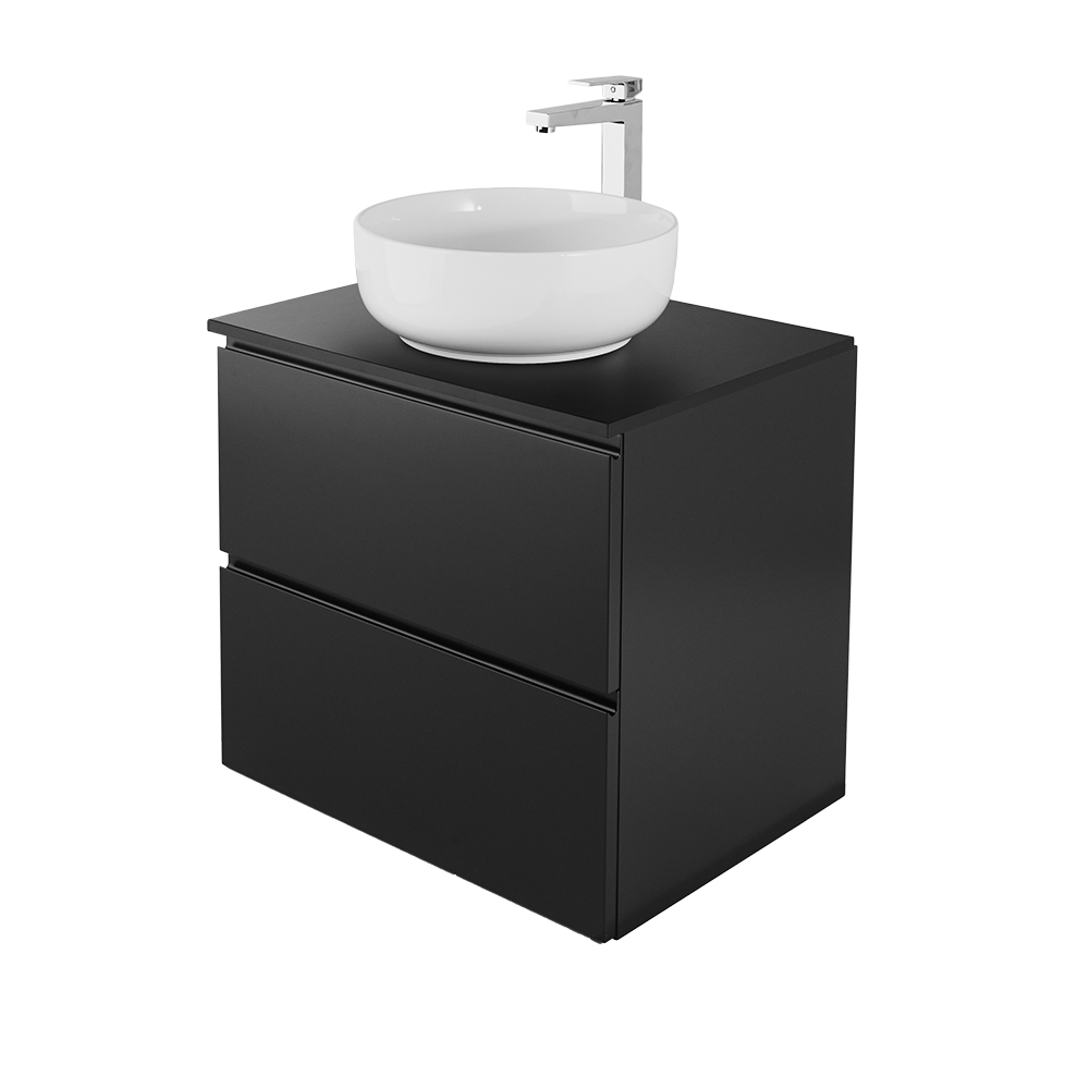 Sara 60cm baderomsmøbel i svart med hvit vask og forkromet vannkran