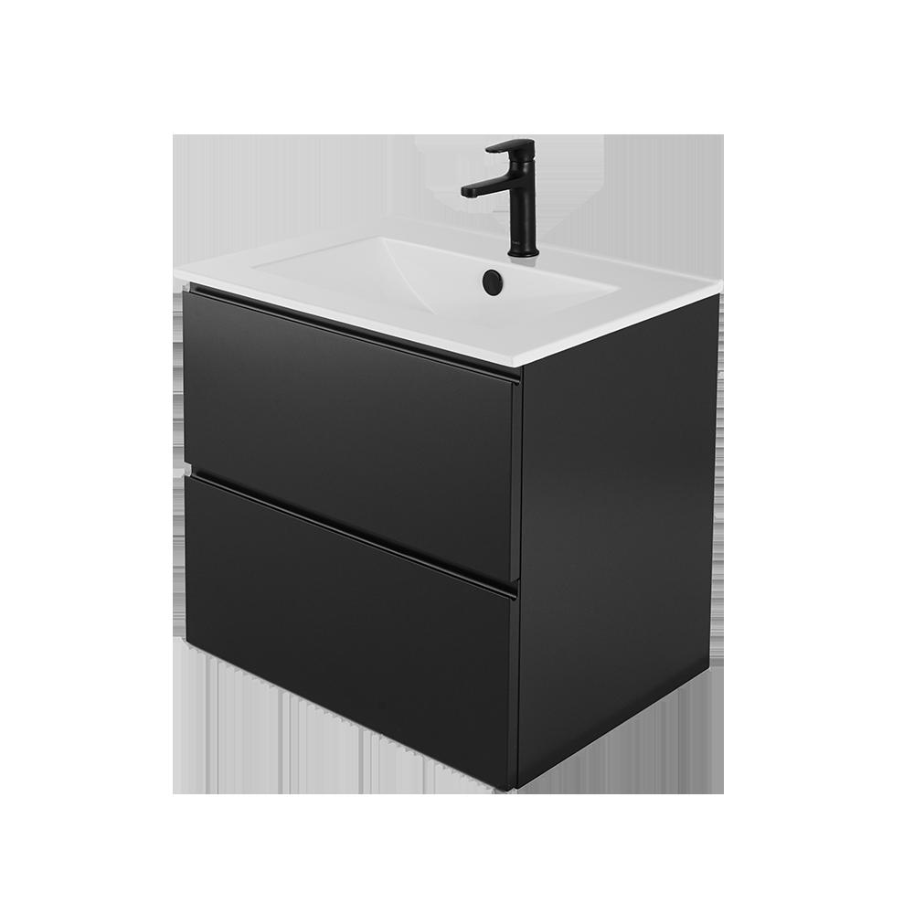 Sara 60 cm baderomsmøbel i svart med svart vannkran og hvit vask
