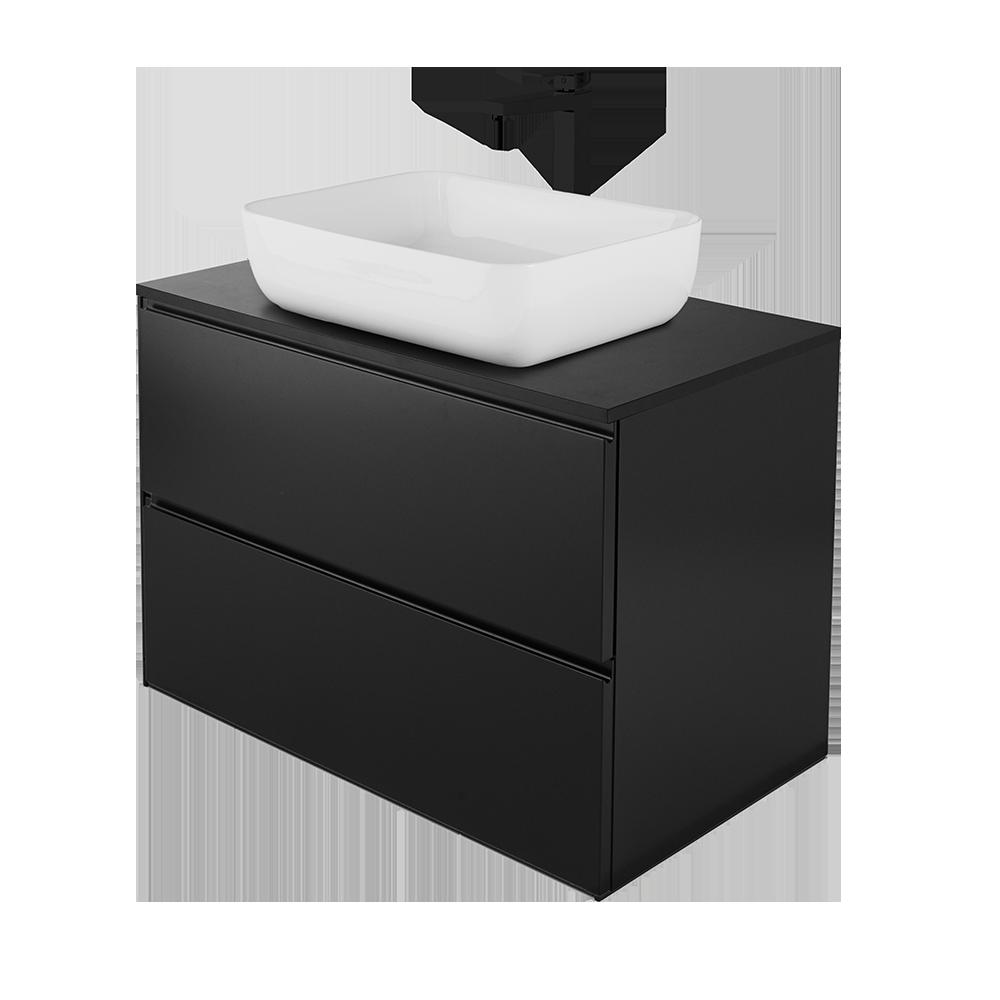 Sara baderomsmøbel med hvit vask og svart kran