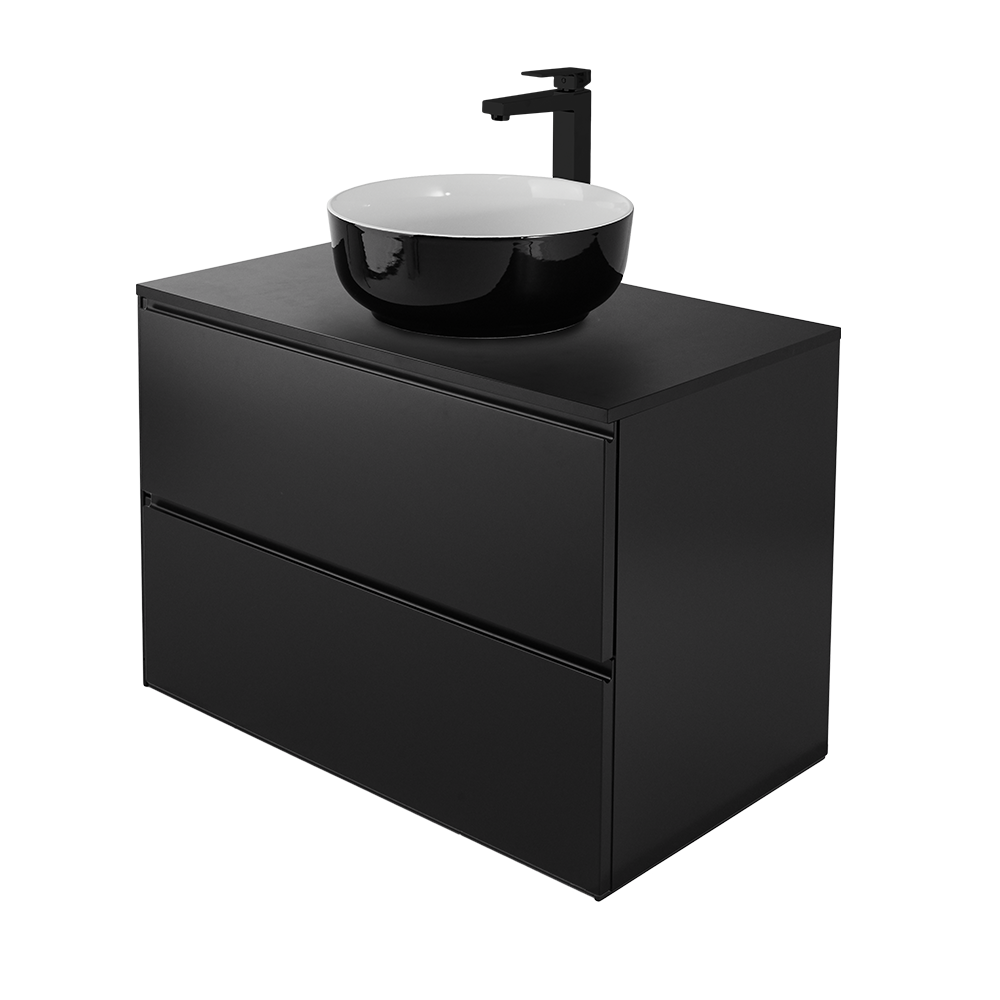 Sara 80 cm baderomsmøbel i svart med svart kran og vask