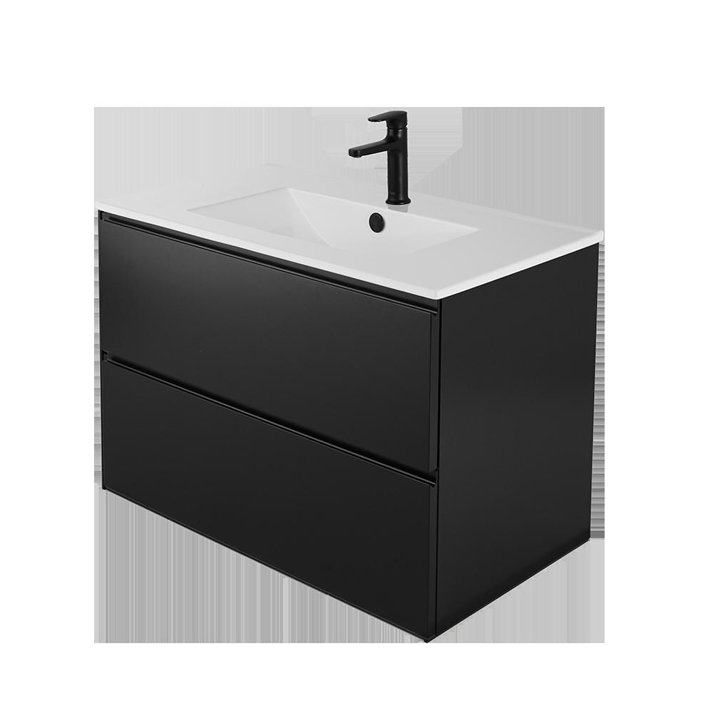Sara 80 cm baderomsmøbel i svart med hvit vask og svart kran