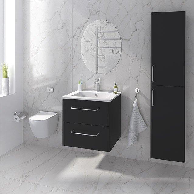 Ella i svart udseende med hvit vask og forkrommet håndtak