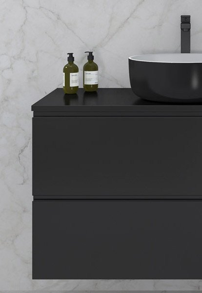 Duxa Sara baderomsmøbel i svart utseende med svart servant