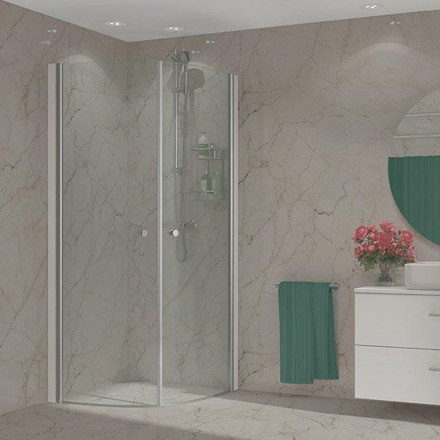 dusj fra Duxa med hvit baderomsmøbel og speil