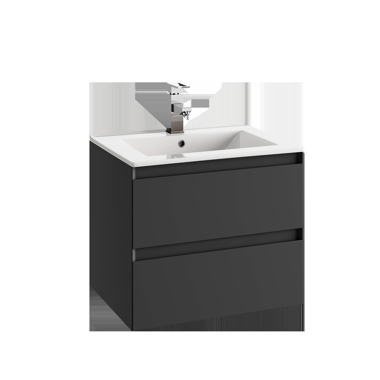Baderomsinnredning - 60 cm underskap med 2 skuffer, glasservant og speil (760x600).