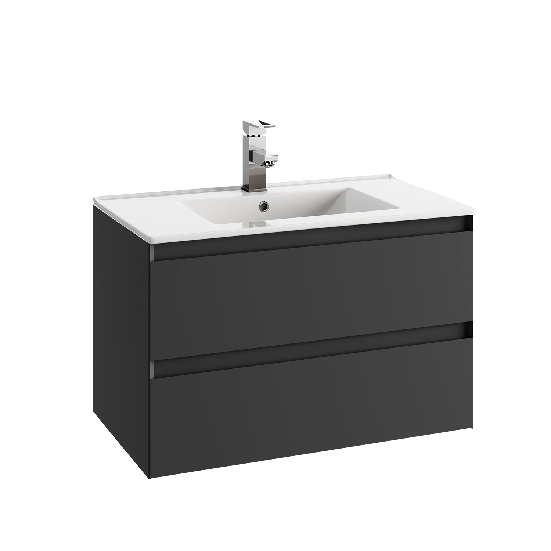 Baderomsinnredning - 80 cm underskap med 2 skuffer, <strong>glasservant</strong> og speil (760x600).