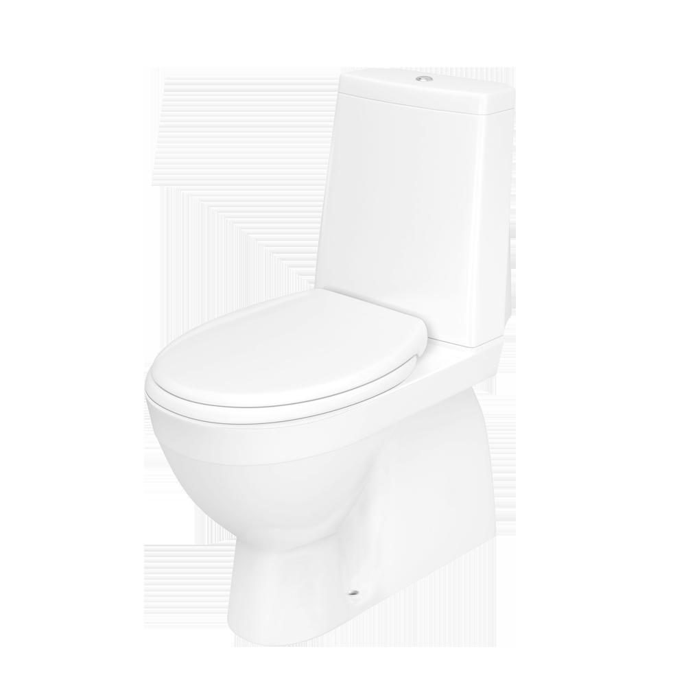Sintef godkjent Røros toalett med rim-less spylekant og to-delt spylefunksjon.
