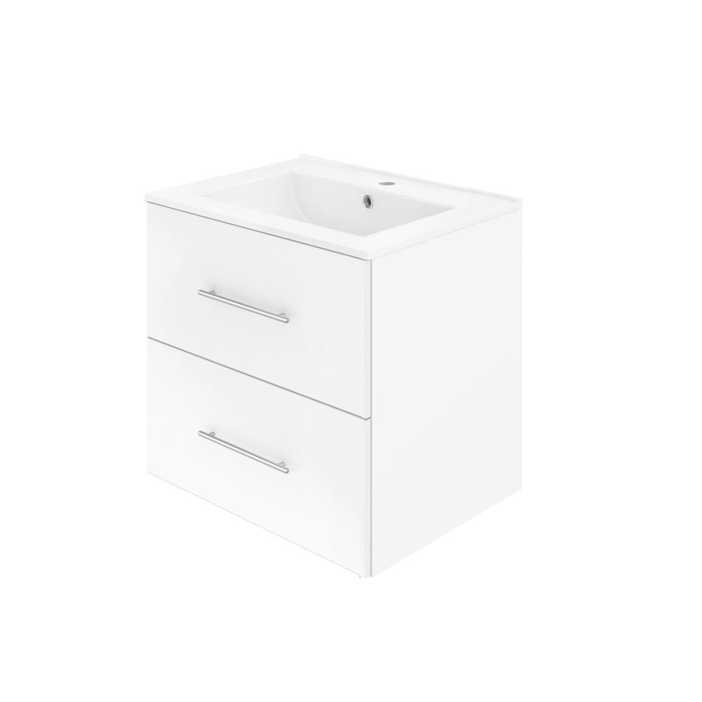 Saxe Form 60 cm er en hvit, enkel og stilfull baderomsinnredning